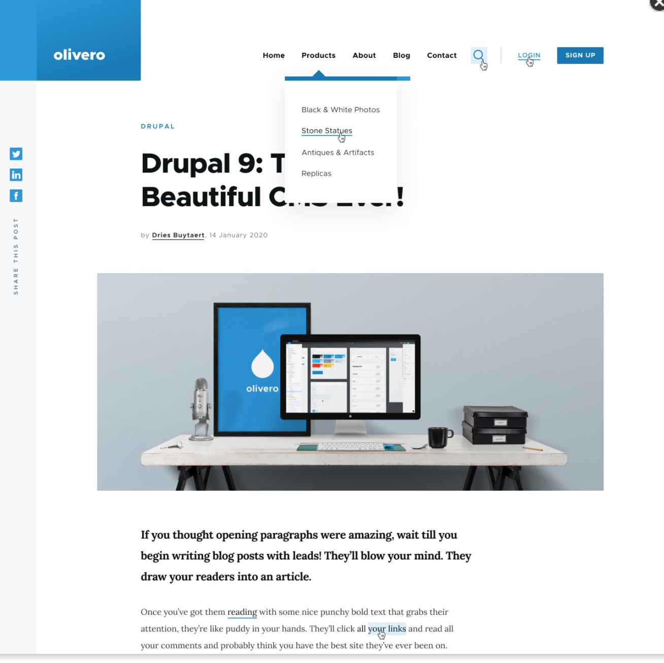 New modern Drupal interface with responsive design