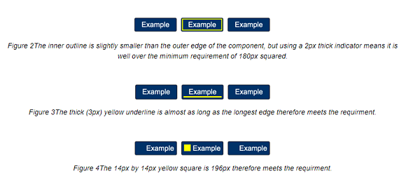 examples of highlighting a link or button with a colored outline and proper contrast ratio