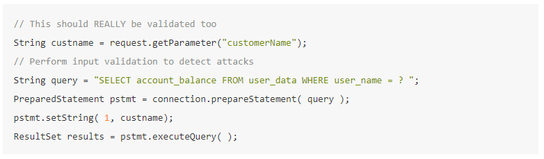 Java code snippet showing safe parameterized queries to prevent SQL injection